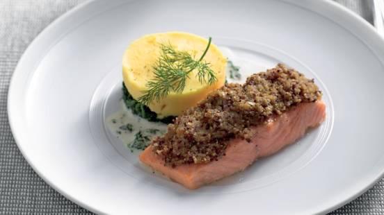 Pavés de saumon et croûte à la moutarde