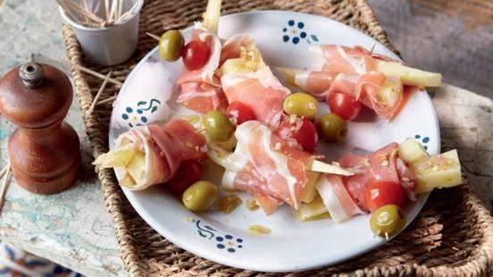 Roulés de jambon Serrano et fromage Manchego mariné