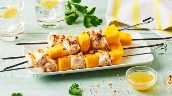 Brochettes de poulet et de mangue