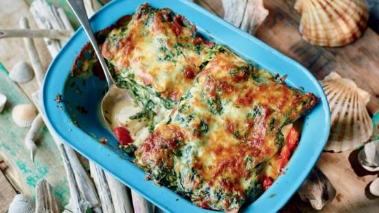 Lasagnes de poisson aux épinards et tomates