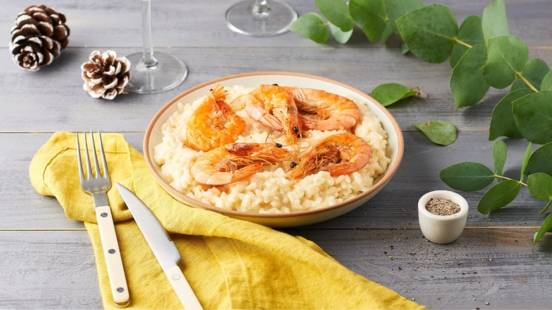 Risotto au champagne et gambas rôties
