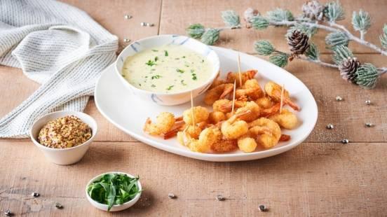 Crevettes panées et sauce au citron vert