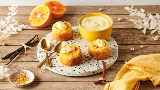 Minis gâteaux orange sanguine et crème vanille