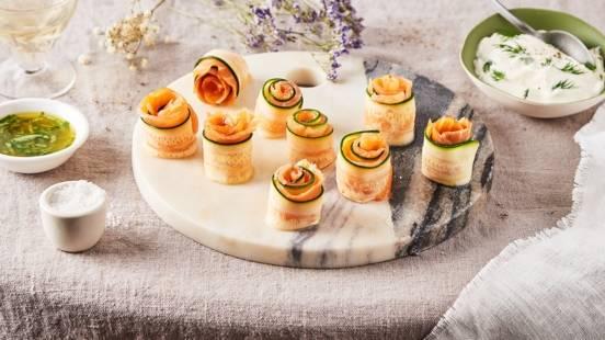 Bouchées de courgettes au saumon