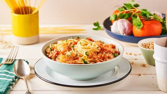 Spaghetti à l'ail et aux crevettes