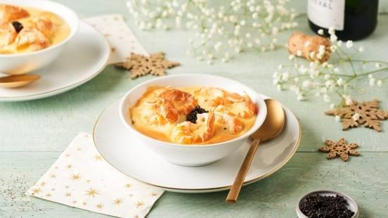 Cassolettes langoustines, sabayon au Champagne et caviar
