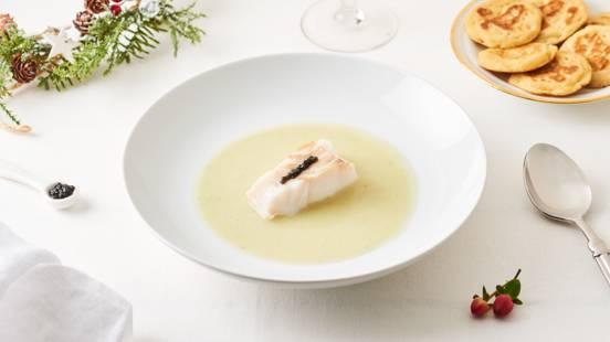 Velouté de cabillaud, estragon et caviar