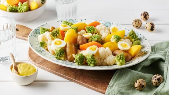 Légumes d'hiver vapeur et aïoli