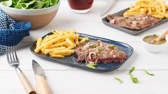 Steak de bœuf mariné à la bière, moutarde et estragon