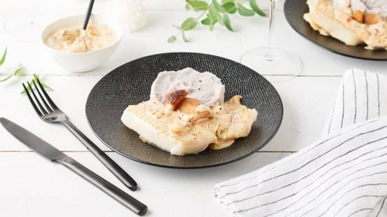 Filet de merlan sauce aux cèpes
