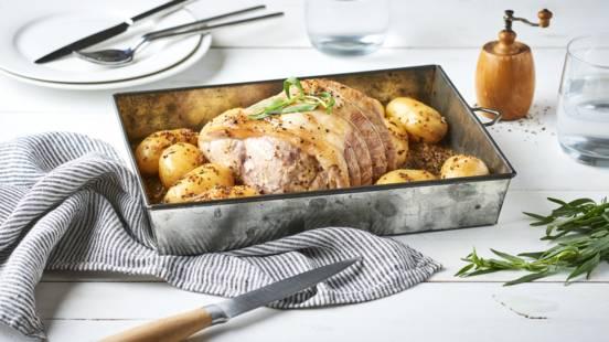 Rôti de porc à la moutarde à l'estragon