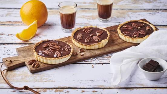 Tartelettes chocolat-orange et noix de pécan