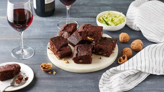 Brownie chocolat noir, courgette et noix
