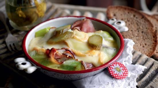 Raclette tyrolienne au poireau et jambon fumé