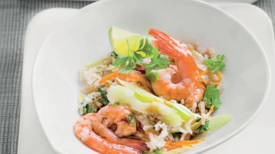 Riz jasmin et crevettes marinées au thé
