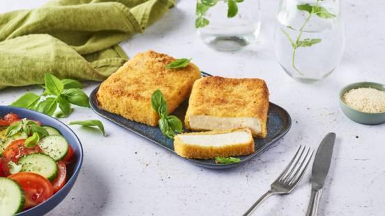 Saganaki (tranche de feta panée et frite à l'huile d'olive)