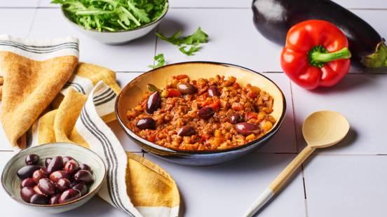 Zaalouk - Purée d'aubergines, poivron rouge et olives noires