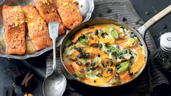 Saumon frit et son gratin de poireaux et butternut