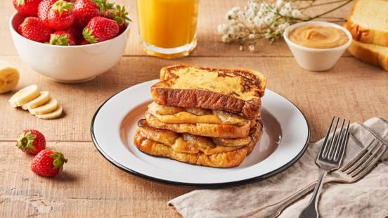 Millefeuille de pain perdu banane et caramel au beurre salé