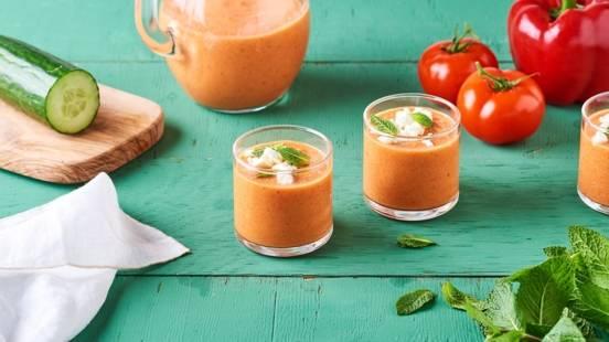 Shots de gaspacho tomates et feta