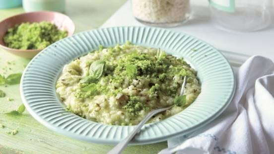 Risotto à la courgette, parmesan et basilic
