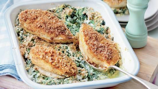 Filets de poulet aux noix sur lit d'épinards
