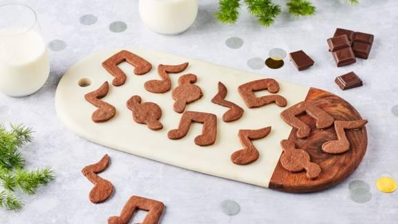 Sablés au chocolat forme de notes de musique