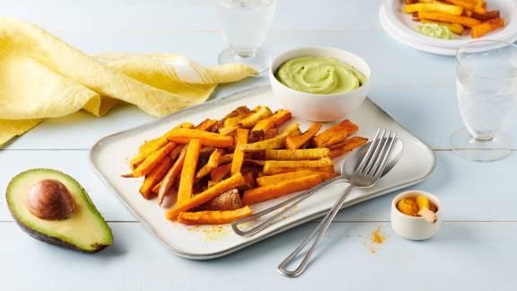 Frites de légumes d'hiver au four et mayonnaise d'avocats