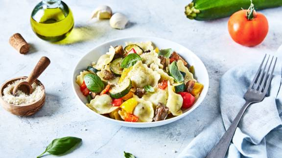 Raviolis aux légumes du soleil et basilic