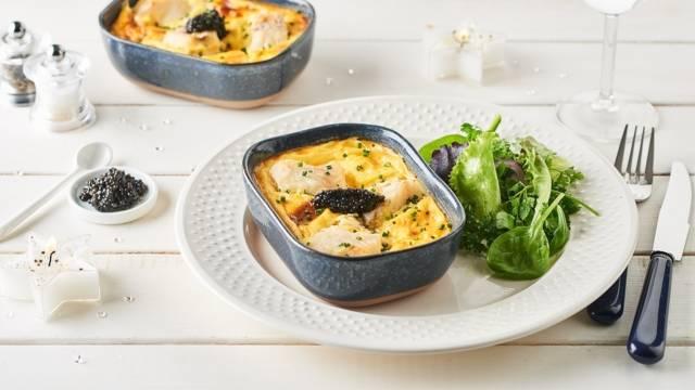 Clafoutis de cabillaud au caviar