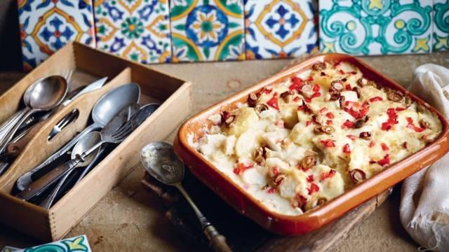 Gratin de cabillaud aux pommes de terre et olives