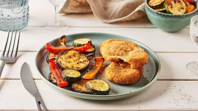 Mozzarella panée et légumes du soleil