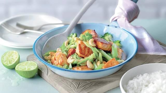 Poêlée de saumon et brocolis