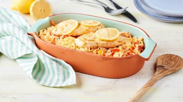 Riz espagnol au poulet et poivrons