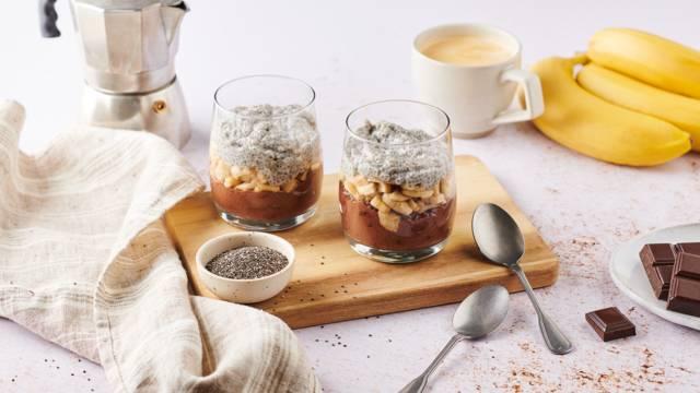 Pudding chocolat-banane, vanille et graines de chia