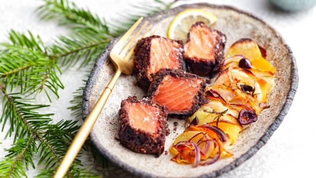 Saumon en croûte de tapenade & tian de légumes rôtis