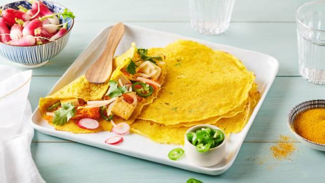 Crêpes végétariennes au tofu, carottes et radis | Banh Xeo