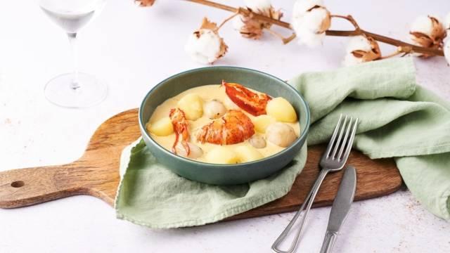 Navarin de homard, champignons et pommes de terre