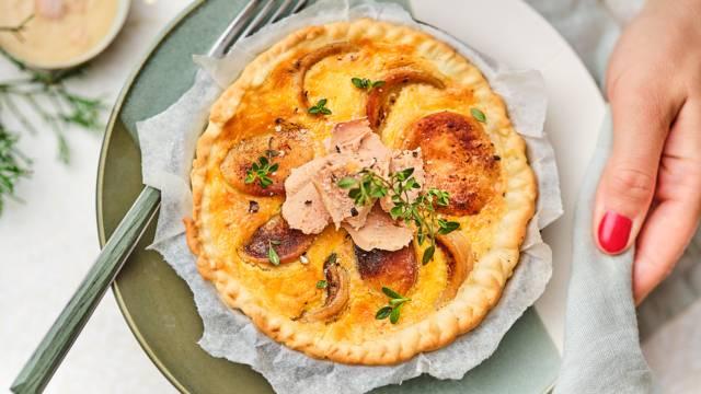 Fine quiche au boudin blanc et foie gras