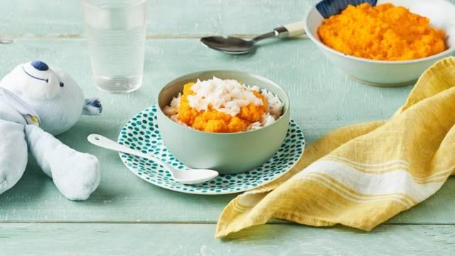 Purée de carottes, riz et émietté de cabillaud