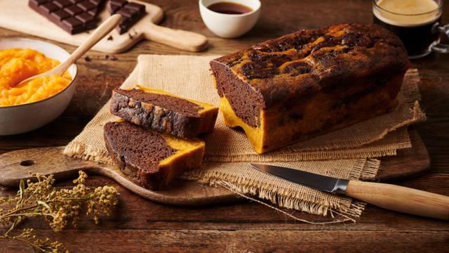 Cake marbré potiron et chocolat noir