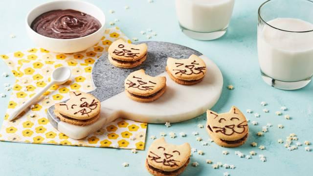 Biscuits fourrés en forme de chat