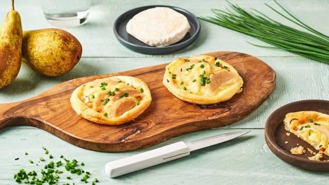 Tartelettes de Saint-Félicien, poires et oignons