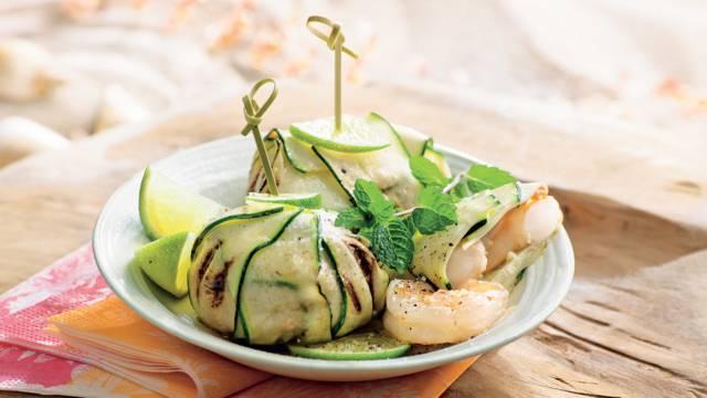 Crevettes en aumônière de courgette