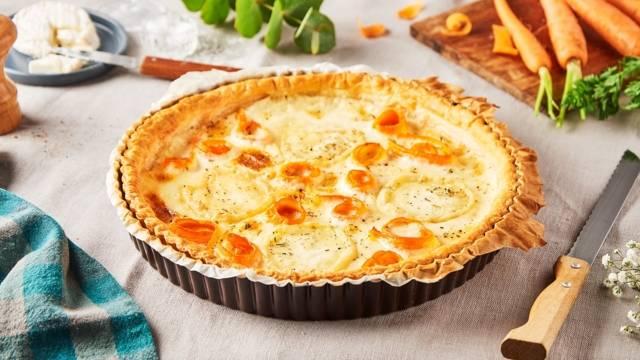 Tarte aux carottes et au Rocamadour