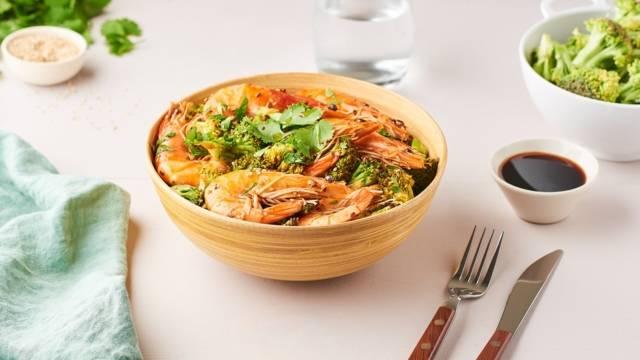 Sauté de crevettes au brocoli