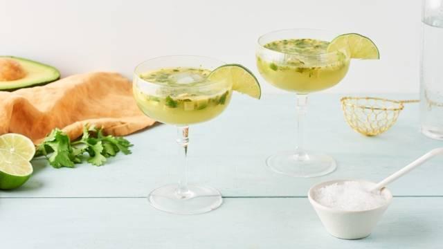 Margarita à l'avocat, coriandre et citron vert