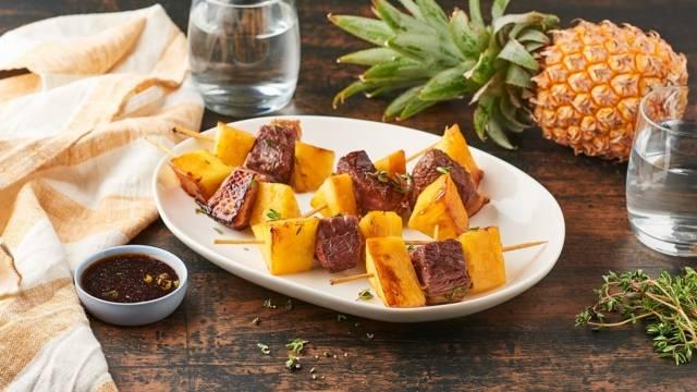 Brochettes de magret de canard à l'ananas