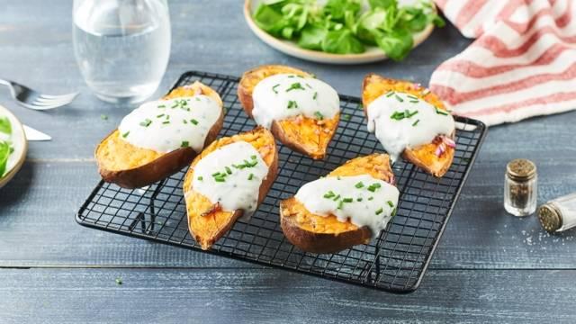 Patates douces farcies oignons rouges et cheddar