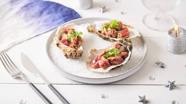 Tartare de boeuf aux huîtres